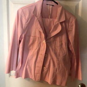 Pink short blazer matching capris